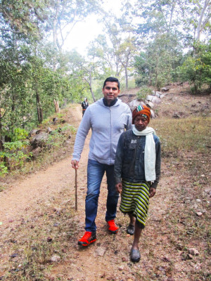 A walk with Baiga tribe which is unique in their lifestyle and have beautifully retained their own culture and traditions for centuries.  In picture Mr. Sachin Bansal – Founder (India City Walks)